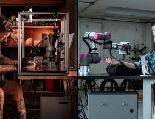 Femme tatouée par un robot