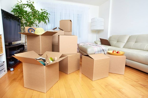 Des cartons de déménagement dans un salon